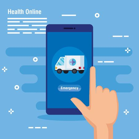 hand with smartphone technology and ambulance service vector illustration