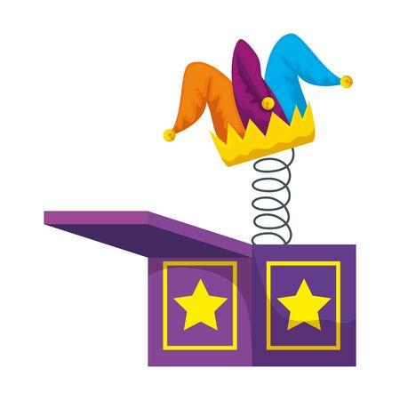 jester hat in surprise box fools day icon vector illustration design Illustration