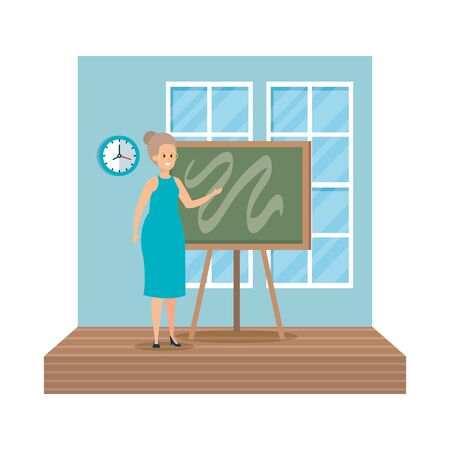 young teacher female with chalkboard classroom scene vector illustration design Stock Vector - 124897694