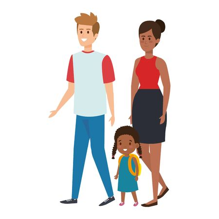 interracial parents couple with daughter characters vector illustration Ilustração