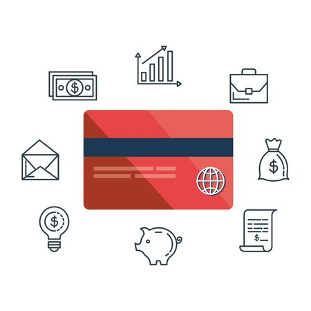 credit card with financial icons vector illustration design