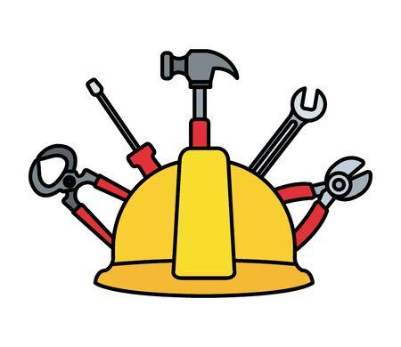 construction helmet with set tools vector illustration design Vetores
