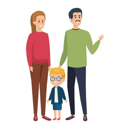 parents couple with son characters vector illustration design Stock Vector - 124897705