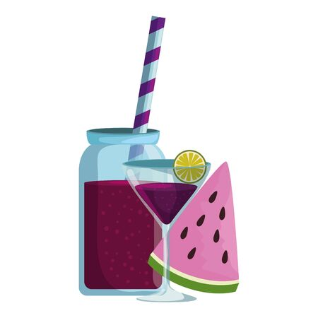 watermelon juice with pot and cocktail cup vector illustration design