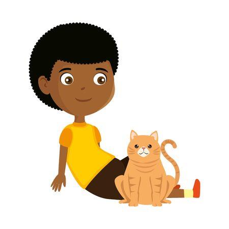 cute little black boy with kitty vector illustration design Archivio Fotografico - 124897764