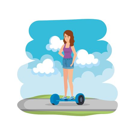 young woman in hoverboard electric on road vector illustration design Reklamní fotografie - 124897770