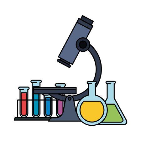 tubes test in holder with microscope vector illustration design Çizim