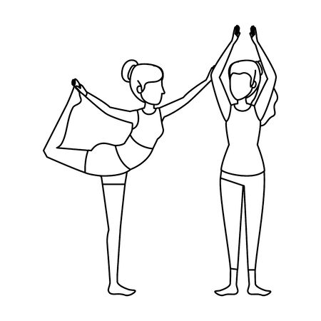 group of women practicing yoga position vector illustration design
