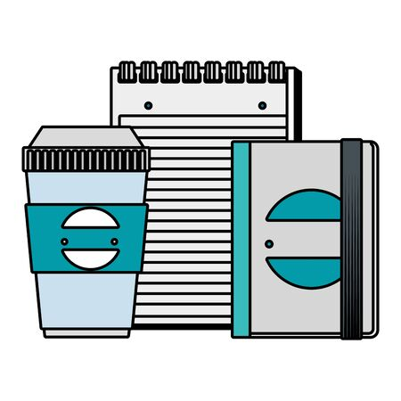 plastic container and notepad and book with company emblem vector illustration