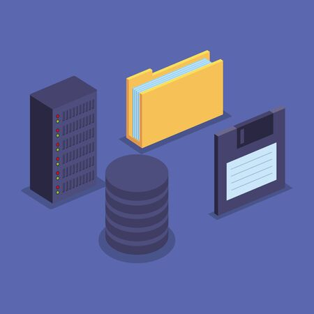 folder with documents information and diskette with hard server storage vector illustration
