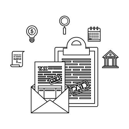 tax clipboard with financial icons vector illustration design
