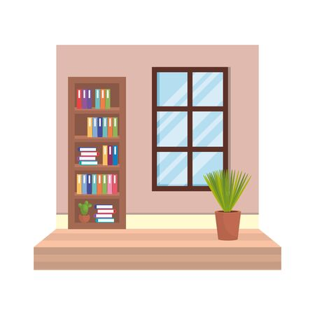 house place with window and houseplant vector illustration design