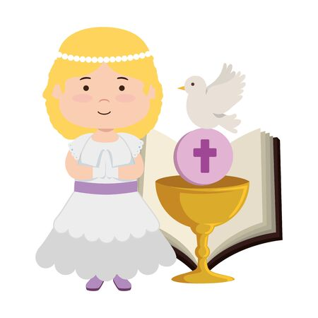little girl with bible and chalice first communion vector illustration design