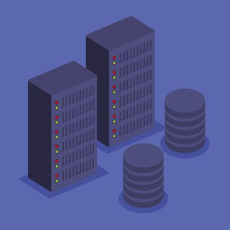 isometric storage tower with hard disk technology vector illustration