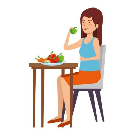 woman eating healthy food in table vector illustration design