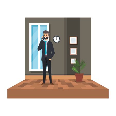 businessman calling with smartphone in the office vector illustration design