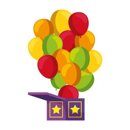surprise box with balloons helium vector illustration design Çizim