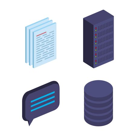 set of documents information with chat bubble and hard storage tower disk vector illustration