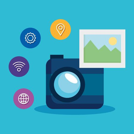 digital camera technology with wifi and location sign vector illustration Banque d'images - 124906053