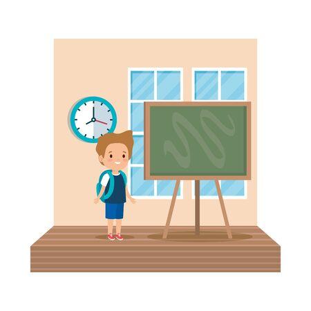 little boy student in the classroom vector illustration design Ilustrace
