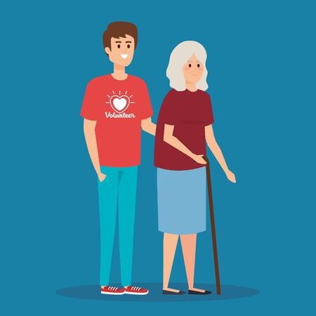 boy volunteer with old woman to donation vector illustration