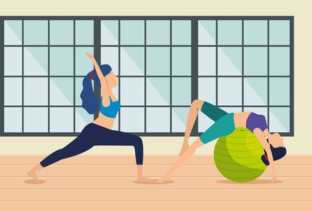 women practice yoga exercise in the house vector illustration