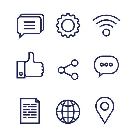 set of social digital media technology connection vector illustration
