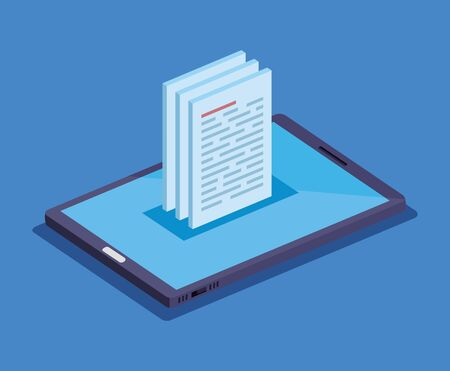 isometric smartphone technology with documents information vector illustration Illustration