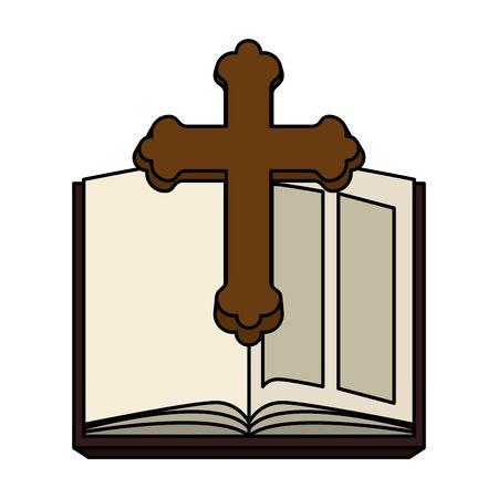 Santa Biblia con cruz de madera, diseño de ilustraciones vectoriales