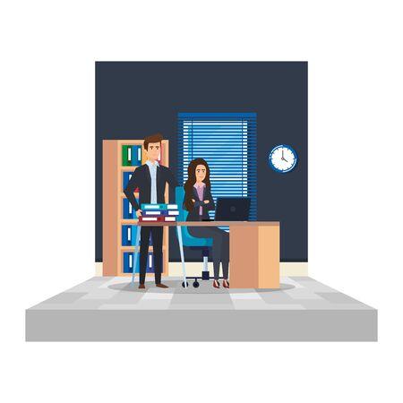 business couple in the office scene vector illustration design 向量圖像