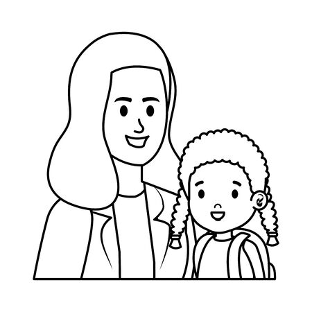 young mother with little daughter vector illustration design 스톡 콘텐츠 - 125051772