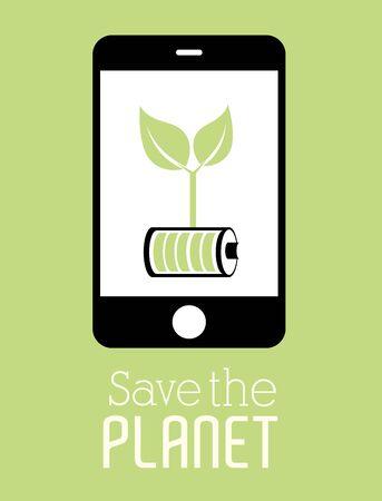 Ecology design over green background, vector illustration. Illustration
