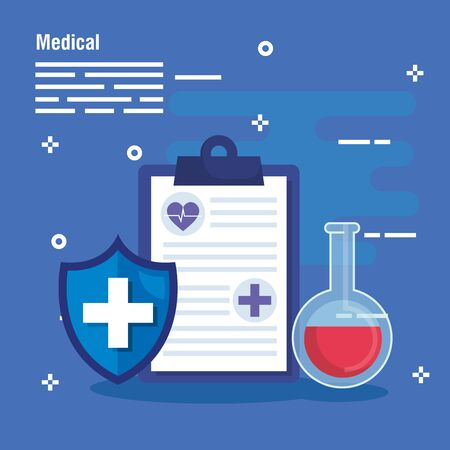 check list analysis with erlenmeyer flask and shield vector illustration