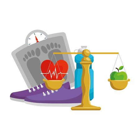 heart cardio with healthy lifestyle icons vector illustration design Illustration