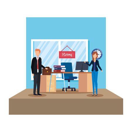 business couple in the office scene vector illustration design Ilustrace