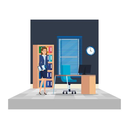 businesswoman with documents in the office vector illustration design Illustration