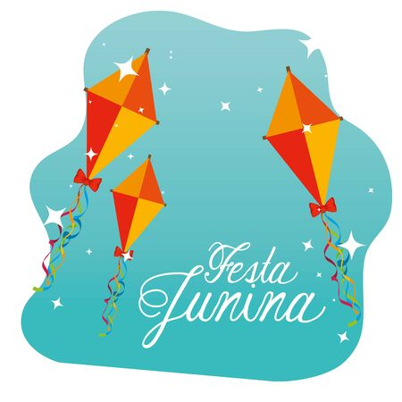 kites traditional decoration to festa junina vector illustration