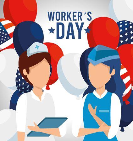 Enfermera profesional con azafata y globos de bandera de Estados Unidos ilustración vectorial Ilustración de vector