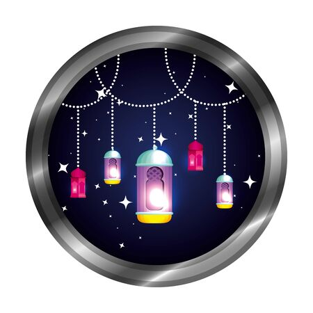 seal with ramadan karem lamps hanging vector illustration design 写真素材 - 124885018