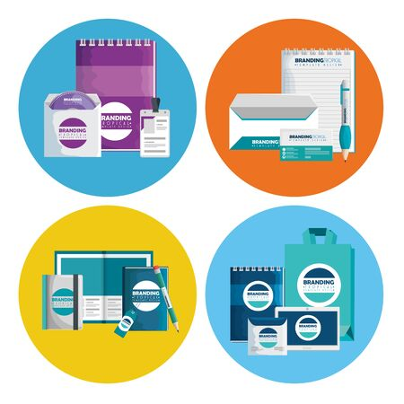 set of business documents and notebooks with cd envelope and license vector illustration