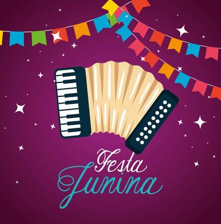 Bannière de fête avec accordéon à festa junina vector illustration