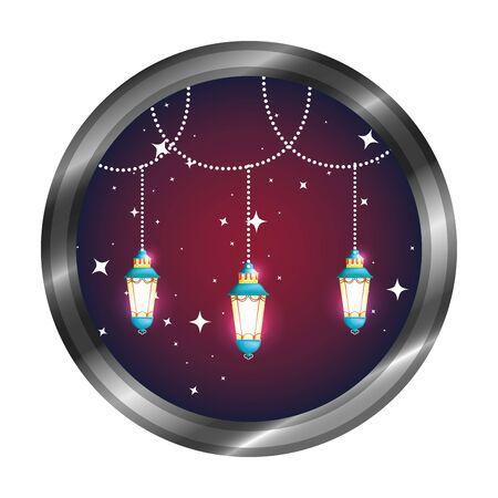 seal with ramadan kareem lamps hanging vector illustration design Illustration