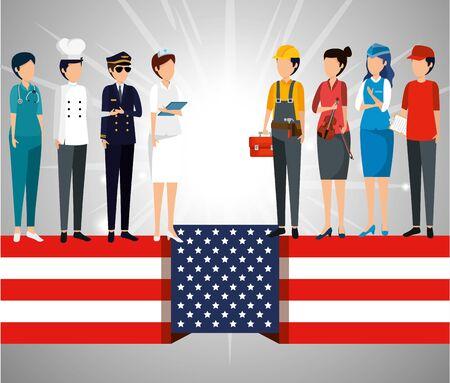 Bandera de Estados Unidos con empleadores profesionales a la ilustración de vector de celebración Ilustración de vector