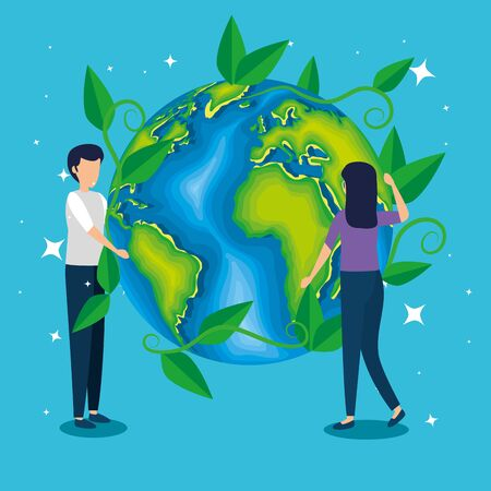 man and woman with ecology planet conservation vector illustration