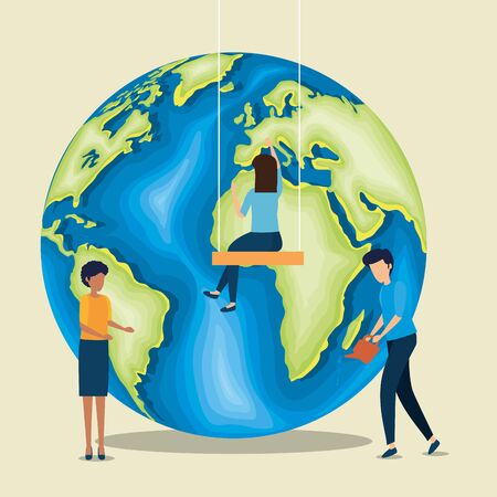 women and man with planet to earth day vector illustration