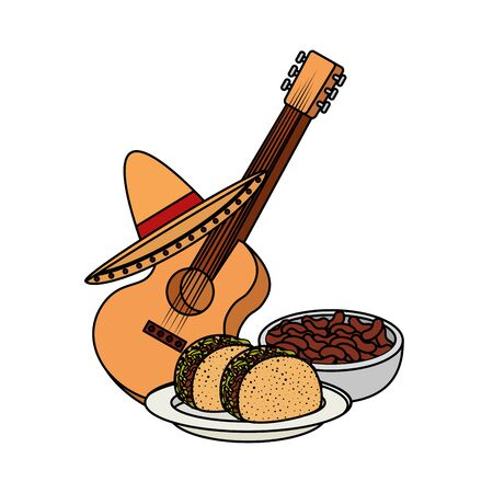 delicious tacos with guitar and hat mexican food vector illustration design Stok Fotoğraf - 124907932
