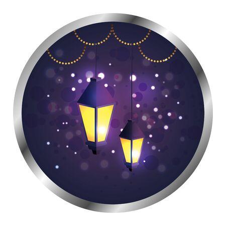 seal with ramadan kareem lamps hanging vector illustration design  イラスト・ベクター素材