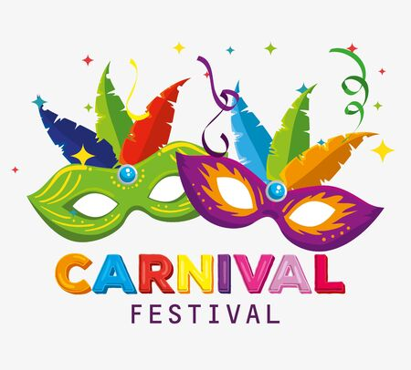 traditional masks with feathers decoration to carnival festival vector illustration 写真素材 - 124906606