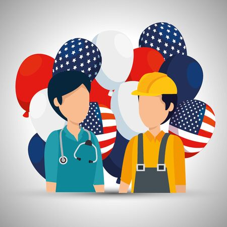 woman doctor and man builder with usa flag balloons vector illustration