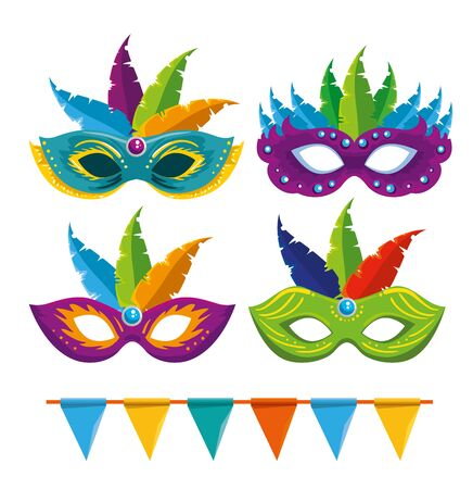 set of carnival masks with feathers decoration and party banner vector illustration  イラスト・ベクター素材